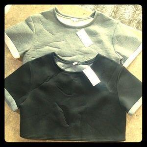 Short Sleeved Crop Top Sweatshirts
